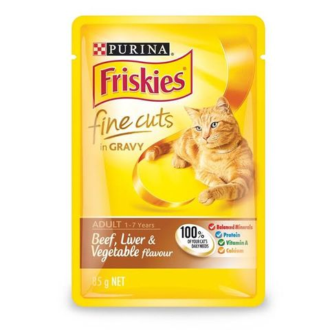 Purina Friskies Fine Cuts in Gravy Beef Liver and Vegetable 85g