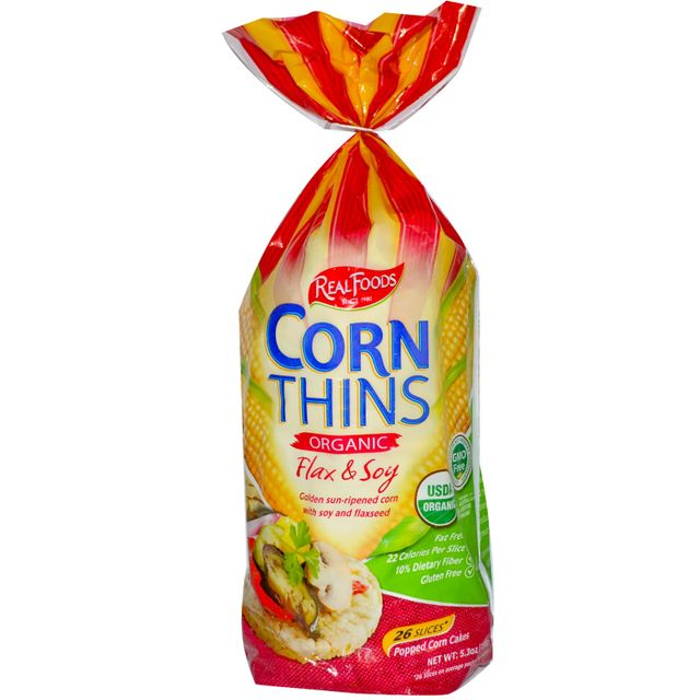 Real Foods Corn Thins Flax & Soy 150gms