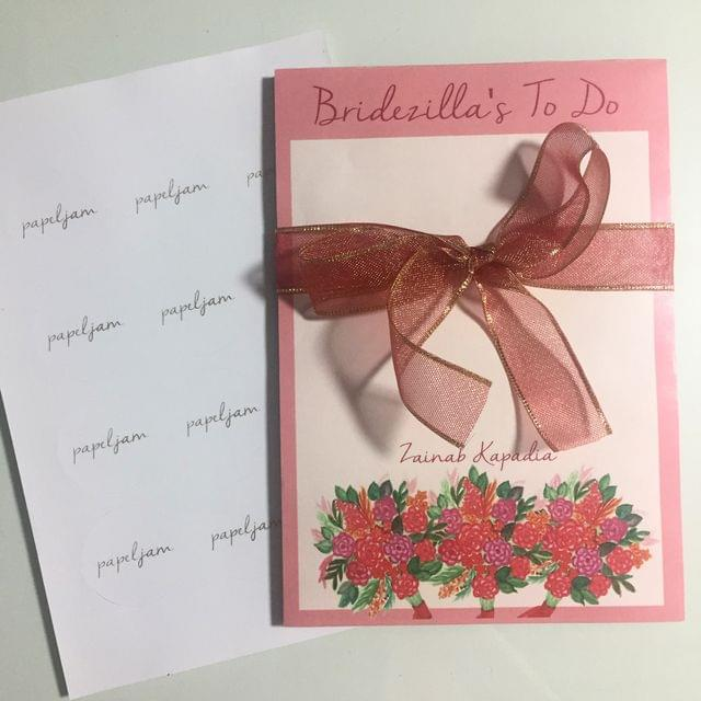 Personalised Bridezilla's to do notepad