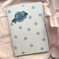 Blue Polka Hardbound Journal | Customize with a patch of your choice