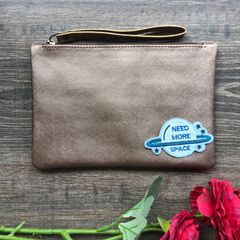 Disco Wristlet Pouch -Bronze  | Customize with a patch of your choice