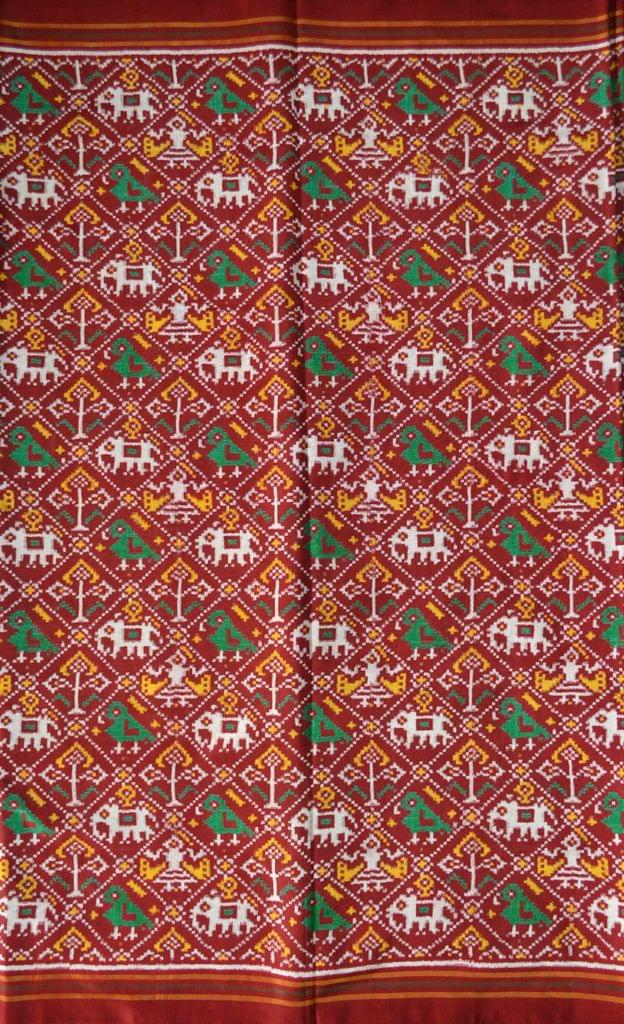 Double Ikat Patola Saree Handwoven-Pure Silk-Red