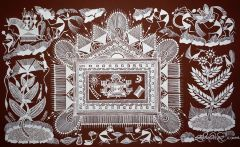 Warli Painting on Canvas- Theme-Chauk-B2