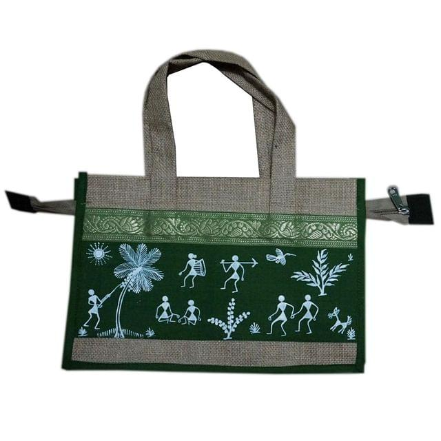 Trendy Jute Bag-Warli Art-Green-JC22