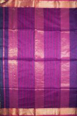 Maheshwari Handwoven Cotton-Silk Saree:Navy Blue