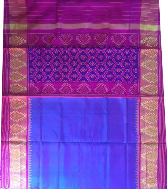 Single Ikat Patola Saree Handwoven-Pure Silk- Pink