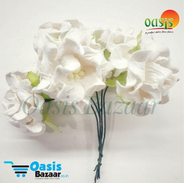Mulberry Gardenia Flowers White In Color 5 Bunches in Pack
