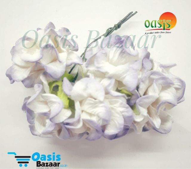 Mulberry Gardenia Flowers White and Purple Shaded In Color 5 Bunches in Pack