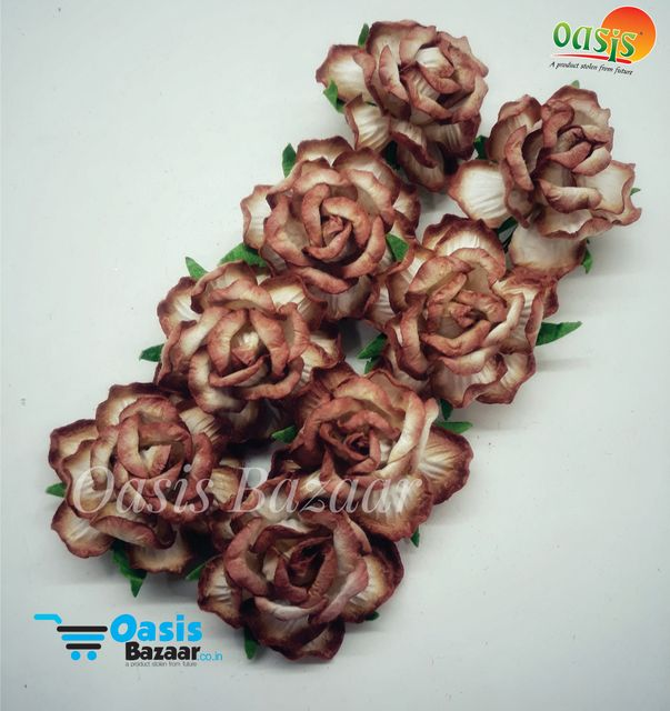 Mulberry Rose Flowers Brown and Off White Shaded