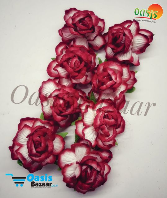 Mulberry Rose Flowers Red and Off White Shaded.