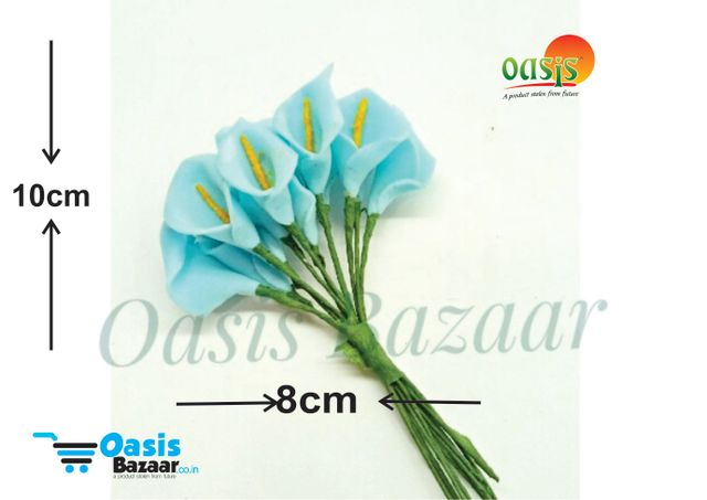 Calla Lily (Foam Fillers) 24 Fillers of Packet Light Turkish Blue in color