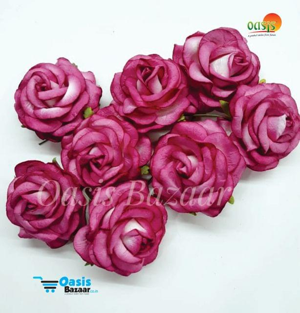 Mulberry Big Rose Flowers Magenta in Color Pack of 8 Flower