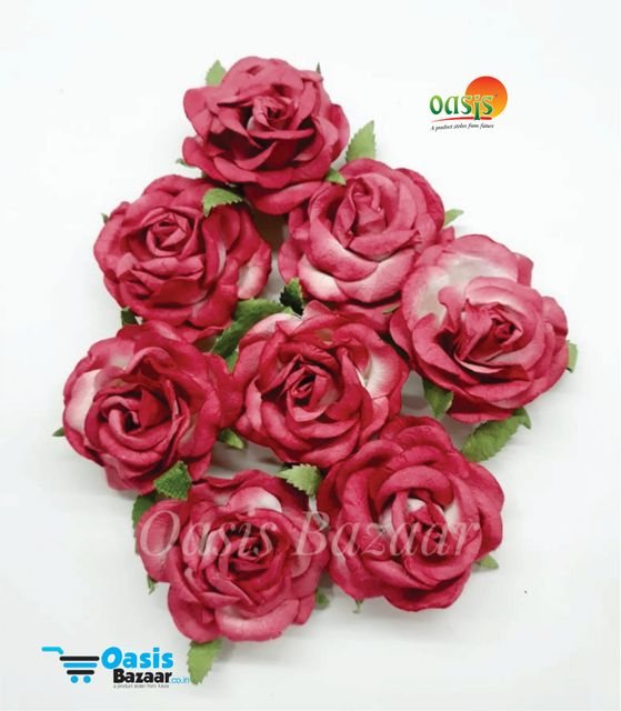 Mulberry Big Rose Flowers Red in Color Pack of 8 Flower