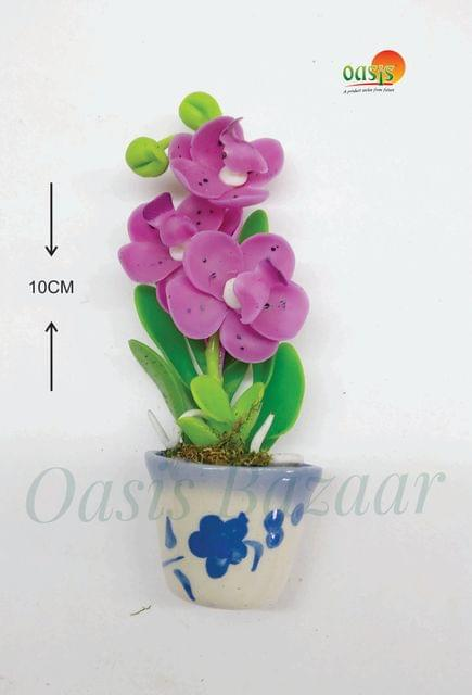 Ceramic Miniature Accessories Pack of Single Flower Pot with Magnet 38