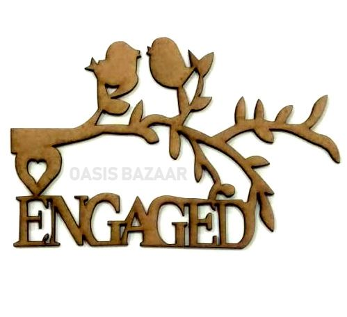 WE Lettering Engaged With Branch and  Bird.