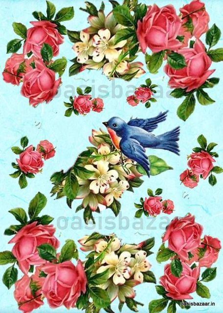 Decoupage Design Flowers and Bird 08