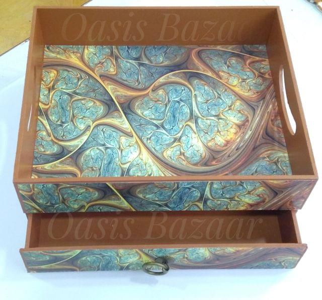 Ready To Gift Wooden Tray And Drawer With Handle.