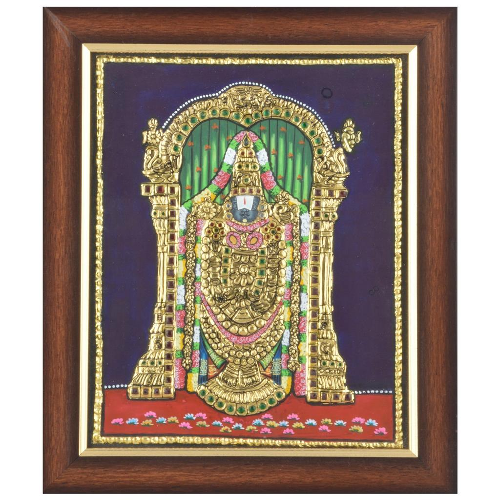 "Mangala Art Balaji Indian Traditional Tamil Nadu Culture Tanjore Painting  - 45x35cms (18""x14"")"