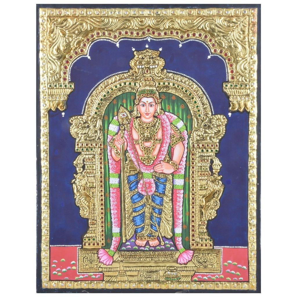 "Mangala Art Raja Alankaram Murugan Indian Traditional Tamil Nadu Culture Tanjore Paintings Without Frame  - 38x30cms (15""x12"")"