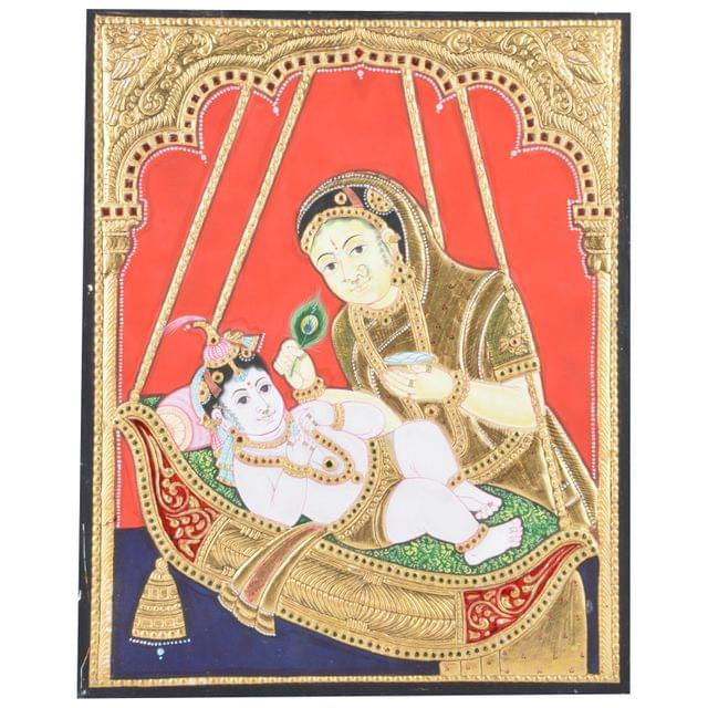 "Mangala Art Cradle Krishna Indian Traditional Tamil Nadu Culture Tanjore Without Frame Painting - 38x30cms (15""x12"")"