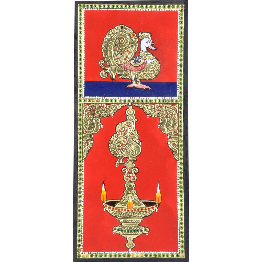 """Mangala Art Peacock Indian Traditional Tamil Nadu Culture Tanjore Painting  - 30x15cms (12""""x6"""")"""