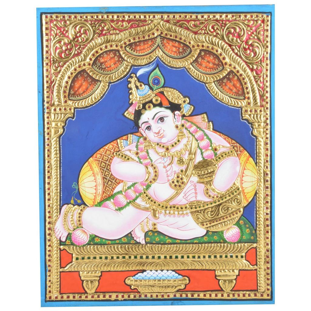 "Mangala Art Pot Krishna Indian Traditional Tamil Nadu Culture Tanjore Paintings Without Frame  - 38x30cms (15""x12"")"
