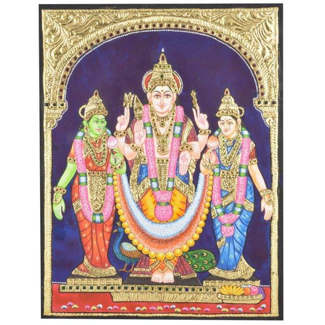 "Mangala Art Valli Devaanai Murugan Indian Traditional Tamil Nadu Culture Tanjore Painting Without Frame  - 38x30cms (15""x12"")"