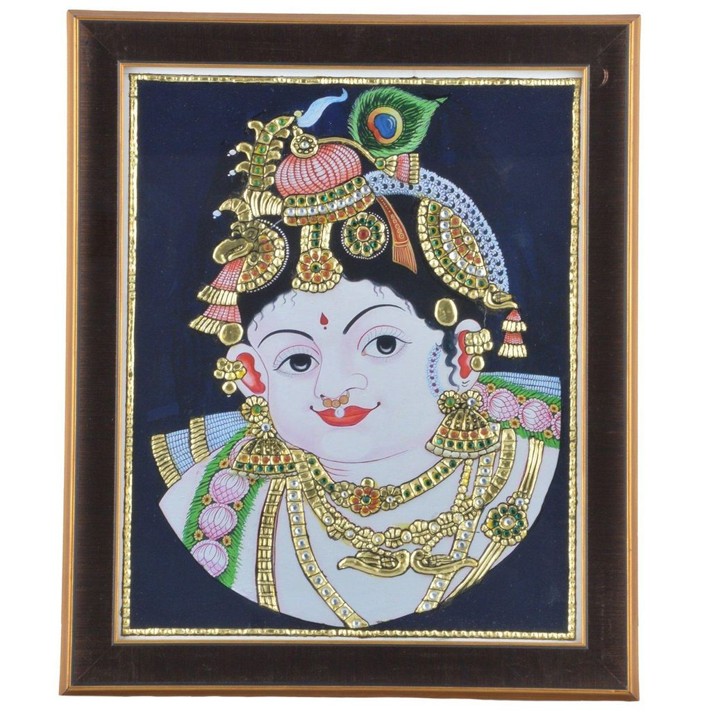 "Mangala Art Face Krishna Indian Traditional Tamil Nadu Culture Tanjore Acrylic Base Painting  - 25x30cms (10""x12"")"