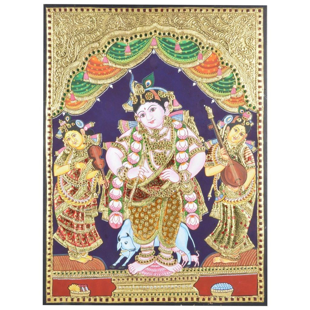 """Mangala Art Standing Krishna Indian Traditional Tamil Nadu Culture Tanjore Painting Without Frame  - 45x60cms (18""""x24"""")"""
