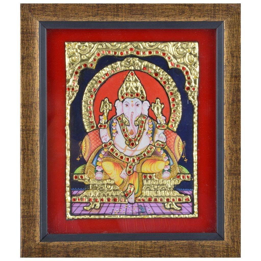 "Mangala Art Ganesha Indian Traditional Tamil Nadu Culture Tanjore Painting Without Frame  - 17x19cms (6.5""x9.5"")"