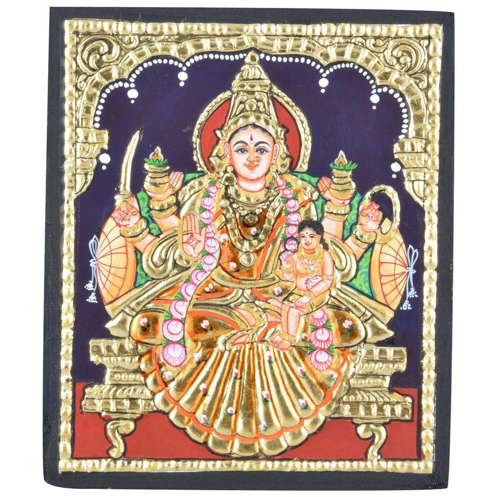 "Mangala Art Ashta Lakshmi Indian Traditional Tamil Nadu Culture Tanjore Without Frame Painting - 13x16cms (5.2""x6.2"")"