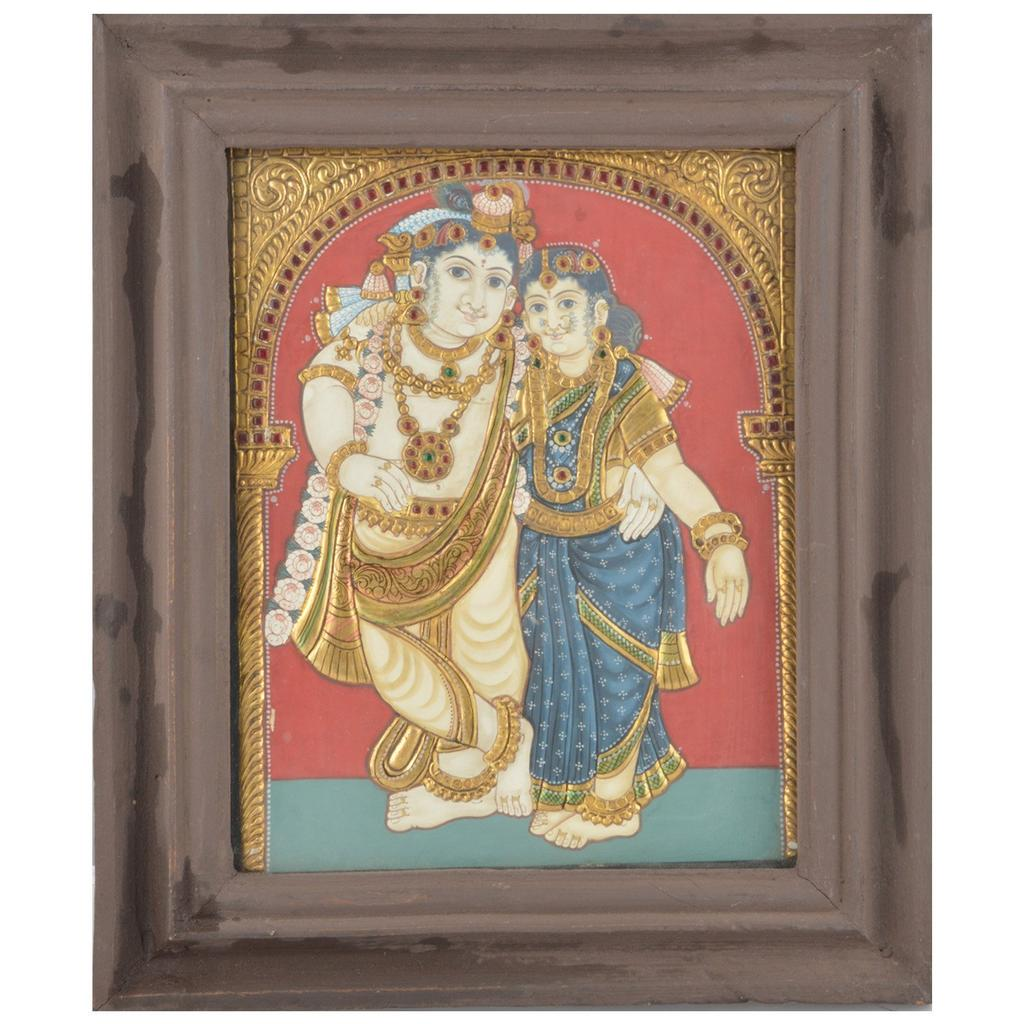 "Mangala Art Radha Krishna Indian Traditional Tamil Nadu Culture Tanjore Painting  - 32x26cms (12.5""x10.5"")"