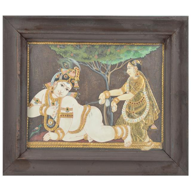 "Mangala Art Baby Krishna Indian Traditional Tamil Nadu Culture Tanjore Painting  - 32x26cms (12.5""x10.5"")"