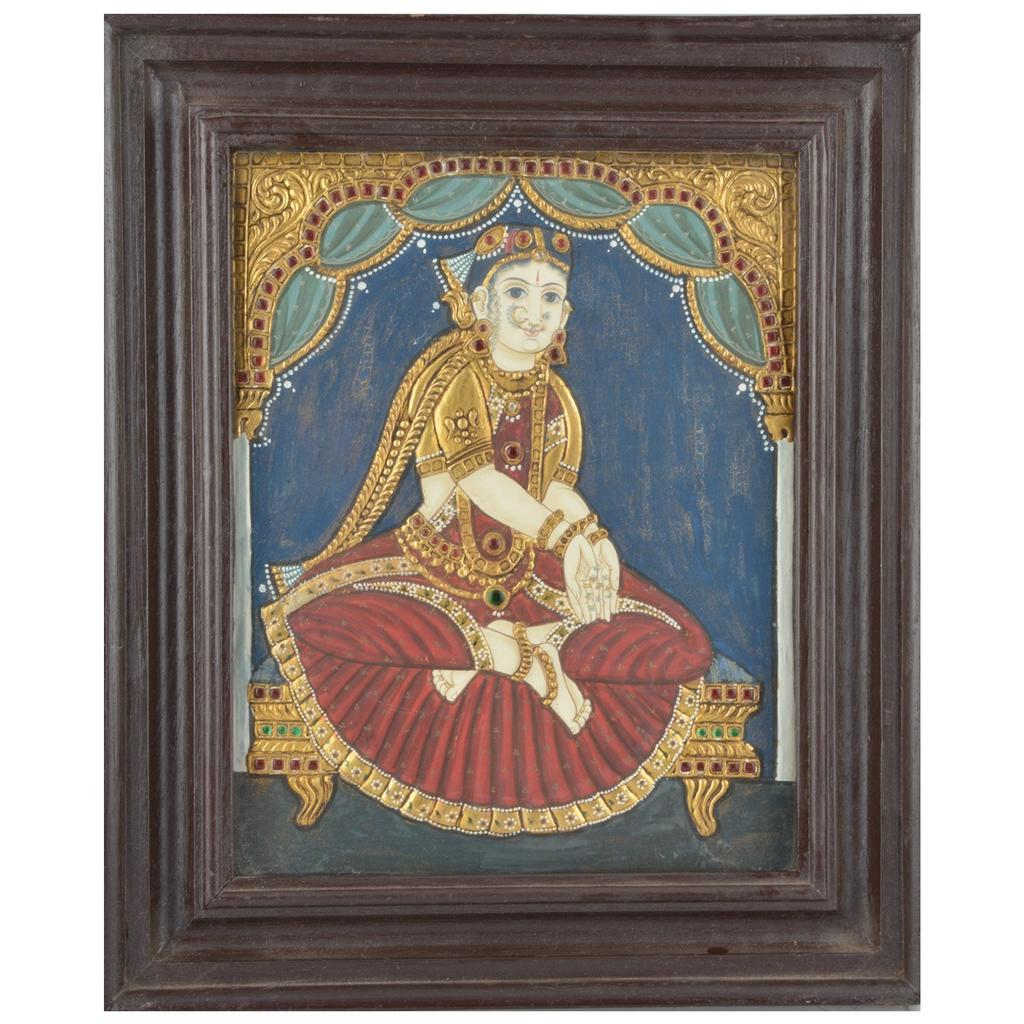 """Mangala Art Welcome Girl Indian Traditional Tamil Nadu Culture Tanjore Painting  - 32x26cms (12.5""""x10.5"""")"""