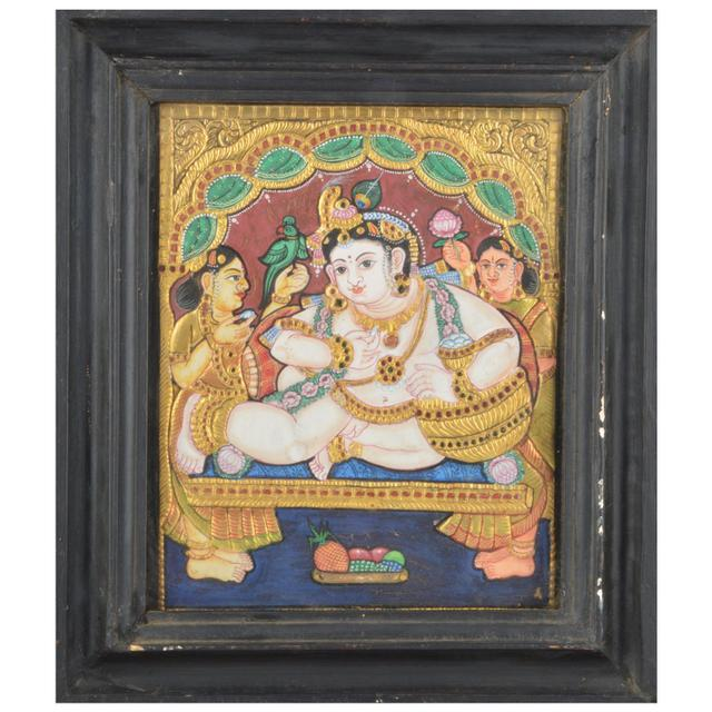 "Mangala Art Baby Pot Butter Krishna Indian Traditional Tamil Nadu Culture Tanjore Painting  - 32x26cms (12.5""x10.5"")"