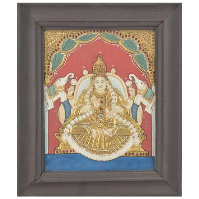 "Mangala Art Gajalakshmi Indian Traditional Tamil Nadu Culture Tanjore Painting  - 32x26cms (12.5""x10.5"")"