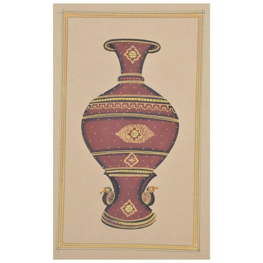 """Mangala Art Jaadi Gold Paint Indian Traditional Tamil Nadu Culture Tanjore Painting Without Frame  - 18x28cms (7""""x11"""")"""