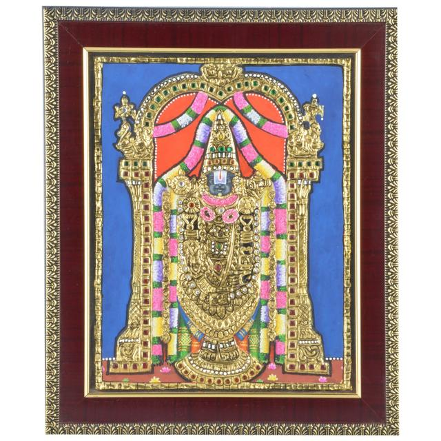 """Mangala Art Balaji Indian Traditional Tamil Nadu Culture Tanjore Painting Without Frame  - 20x25cms (8""""x10"""")"""