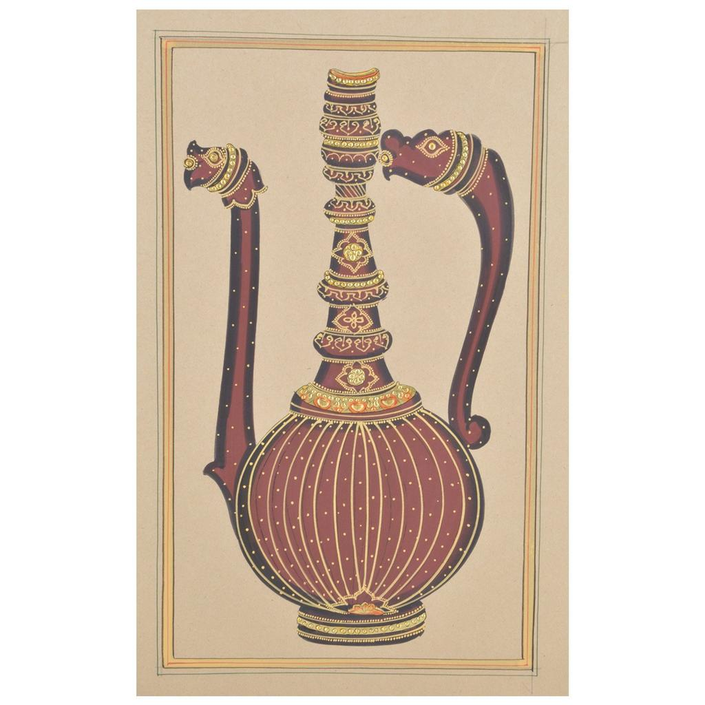 "Mangala Art Long Jaadi Paper Gold Paint Indian Traditional Tamil Nadu Culture Tanjore Painting Without Frame  - 18x28cms (7""x11"")"