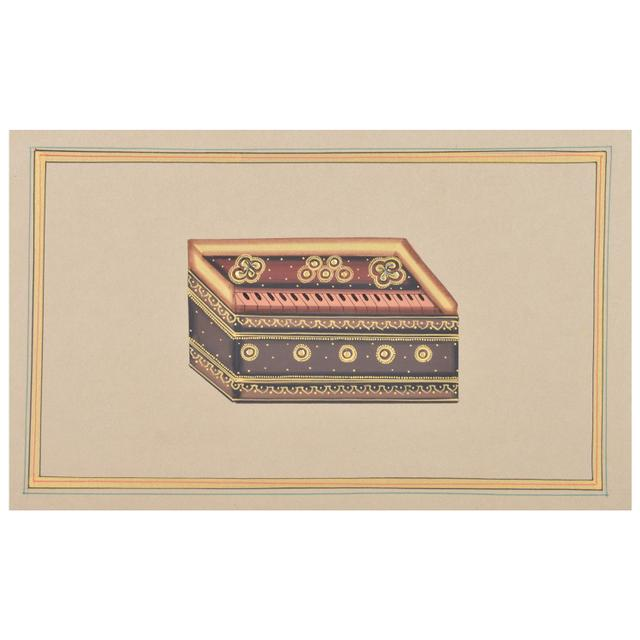 "Mangala Art Harmonium Paper Gold Paint Indian Traditional Tamil Nadu Culture Tanjore Painting Without Frame  - 18x28cms (7""x11"")"