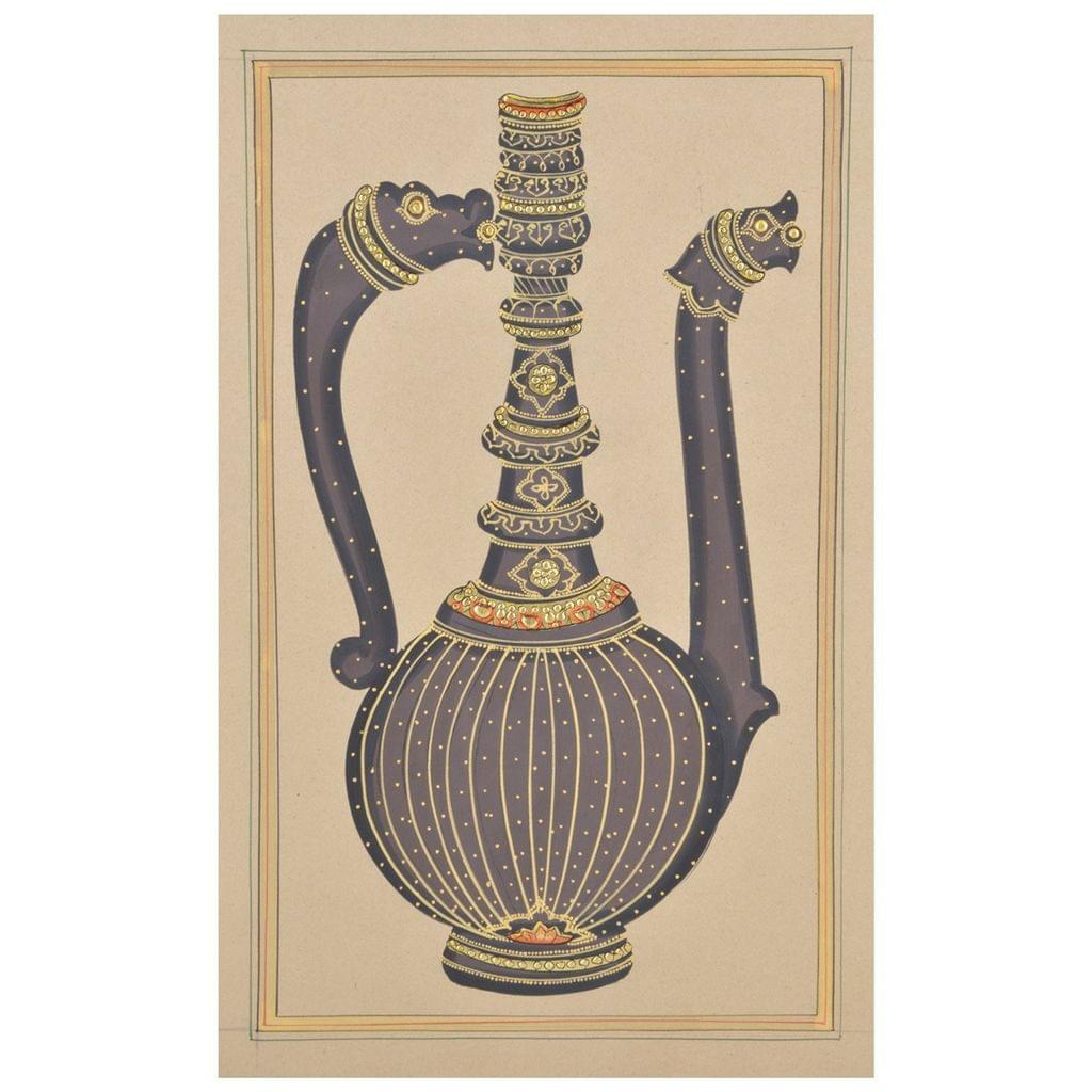"""Mangala Art Long Jaadi Paper Gold Paint Indian Traditional Tamil Nadu Culture Tanjore Painting Without Frame  - 22x28cms (9""""x11"""")"""