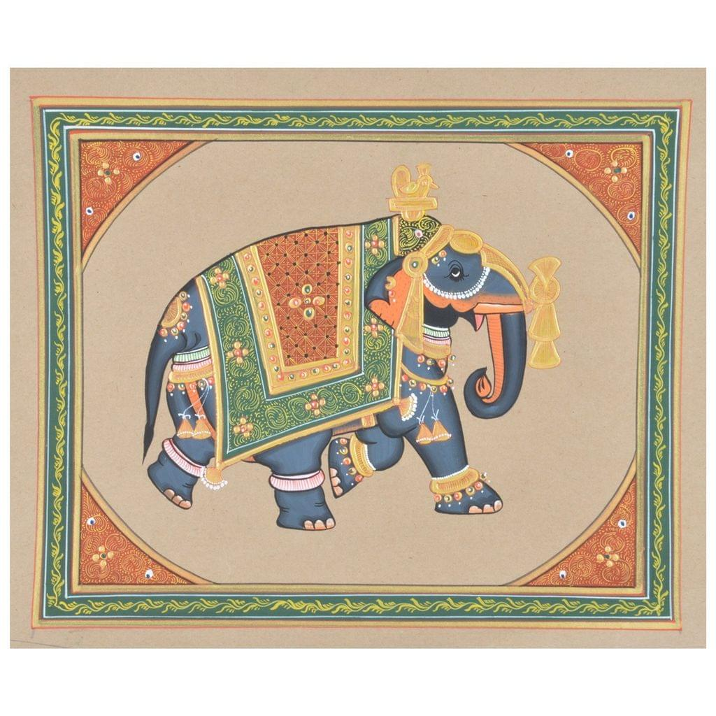 "Mangala Art Elephant Paper Gold Paint Indian Traditional Tamil Nadu Culture Tanjore Painting Without Frame  - 22x28cms (9""x11"")"