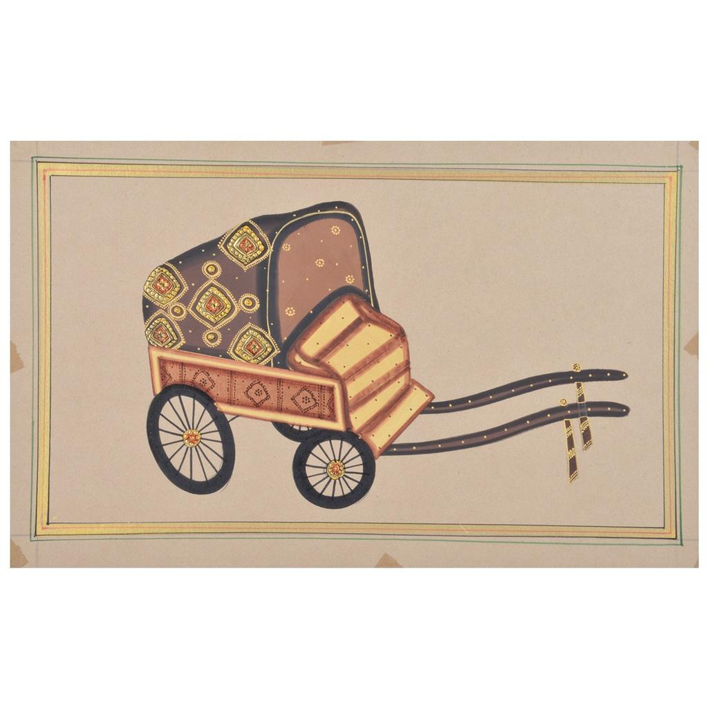 "Mangala Art Rickshaw Paper Gold Paint Indian Traditional Tamil Nadu Culture Tanjore Painting Without Frame  - 33x28cms (13""x11"")"