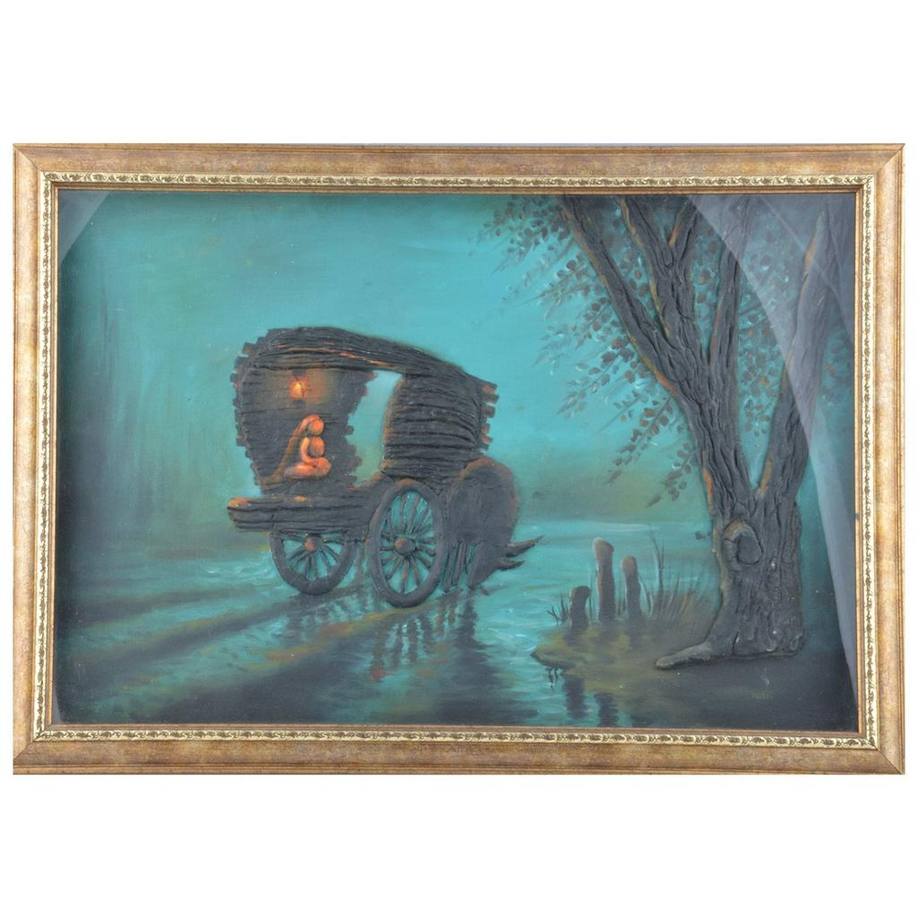 "Mangala Art Bullock Cart Scenery M-seal Mural Artwork Wall Decor  - 53x38cms (21""x15"")"