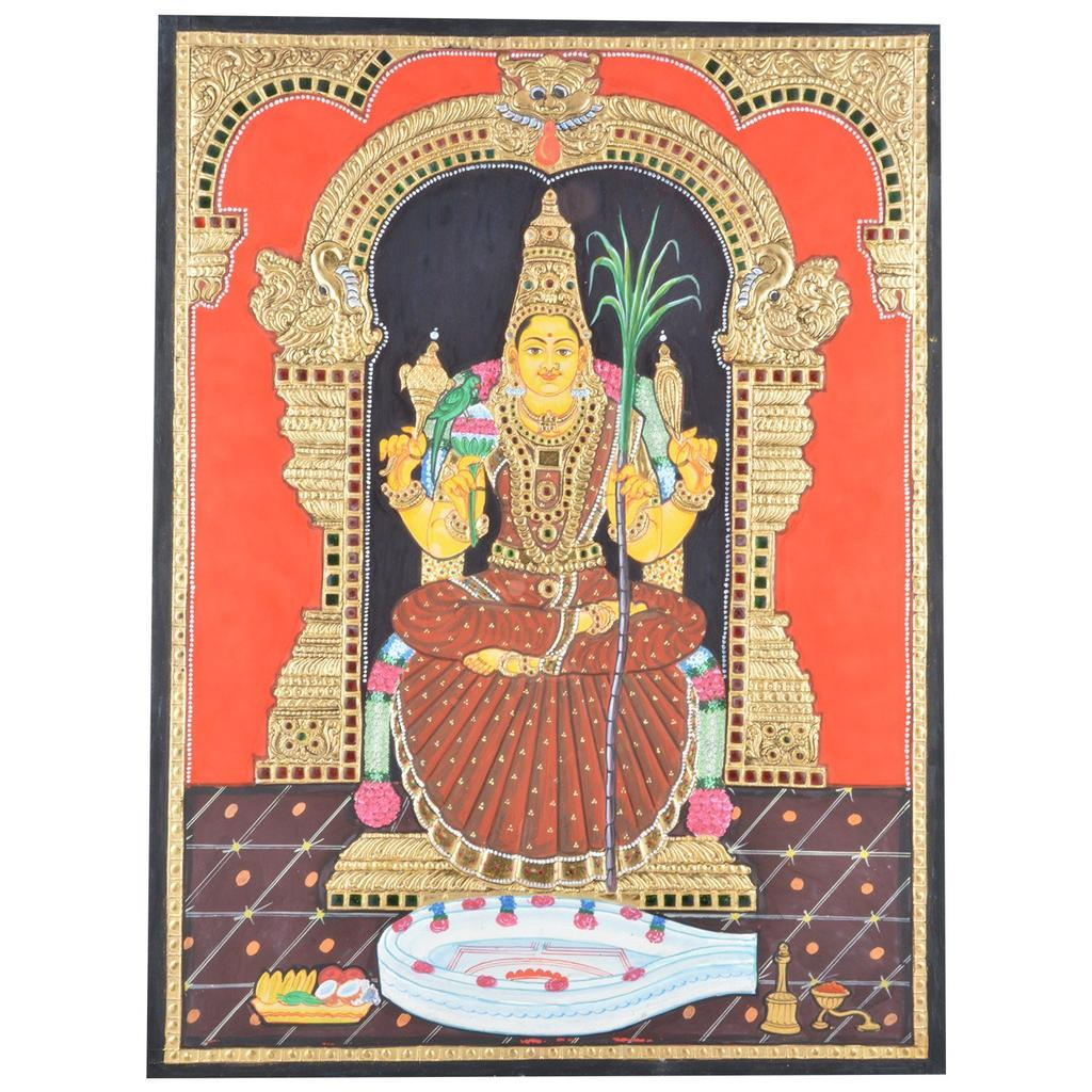 "Mangala Art Raja Rajeshwari Amman Indian Traditional Tamil Nadu Culture Tanjore Painting - 60x45cms (24""x18"")"