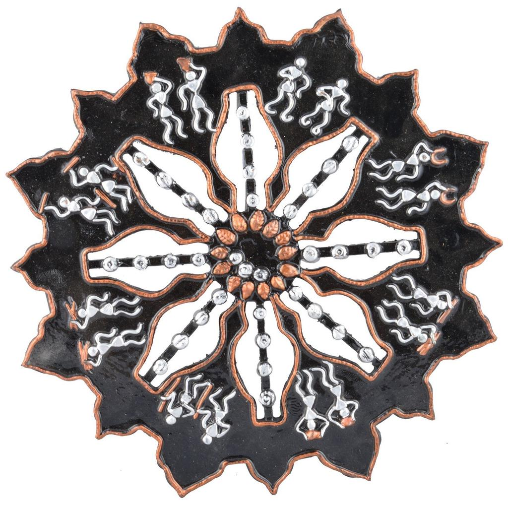 Mangala Art Warli Wheel Work Wall Decor (1 Feet Diameter)