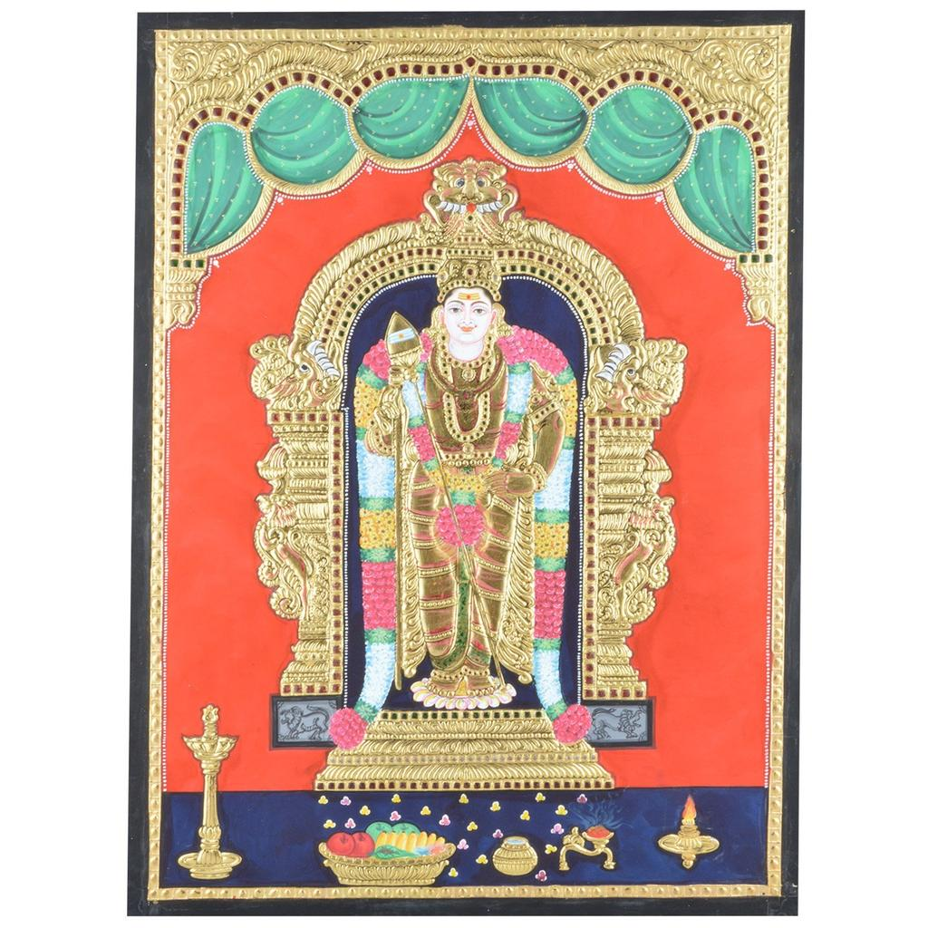 "Mangala Art Murugan Indian Traditional Tamil Nadu Culture Tanjore Painting Without Frame - 60x45cms (24""x18"")"