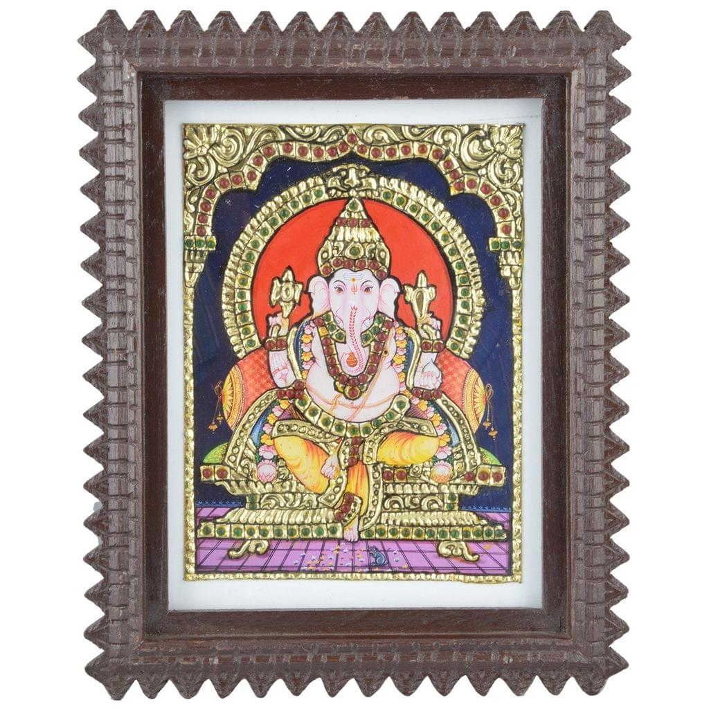 "Mangala Art Ganesha Indian Traditional Tamil Nadu Culture Tanjore Acrylic Base Painting - 24x19cms (9.5""x7.5"")"