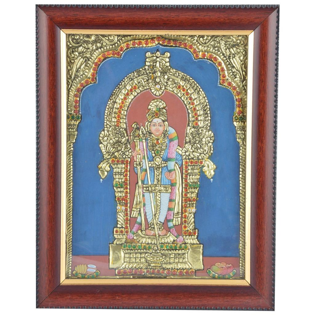 "Mangala Art Raja Alangara Murugan Indian Traditional Tamil Nadu Culture Tanjore Acrylic Base Painting - 25x30cms (10""x12"")"