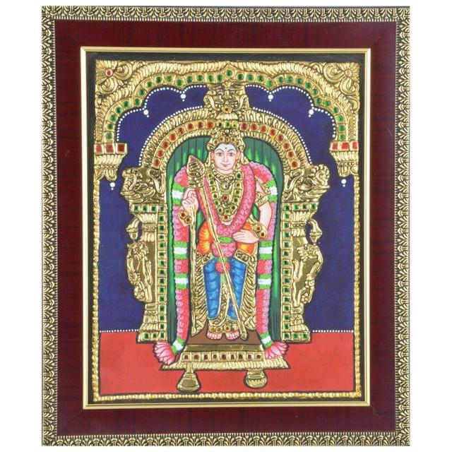 "Mangala Art Murugan Indian Traditional Tamil Nadu Culture Tanjore Painting - 38x30cms (15""x12"")"